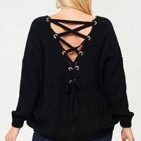 Lace-up Back Plus Size V Neck Sweater