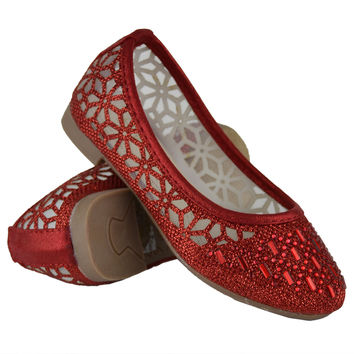 Kids Ballet Flats Lace Mesh Rhinestone Accent Casual Slip On Shoes Red SZ