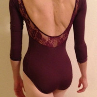 3/4 sleeve leotard with lace in the back, elegant and sexy