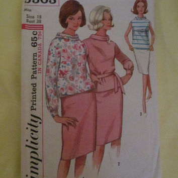 Sale 1964 Simplicity Sewing Pattern, 5503! Size 18, Bust 38, Size Large to XL, Women's, Madmen Style, Jackie O, Retro, Skirt and Shirt.