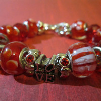 Valentine's Day Red and White Glass Bead European Style Bracelet
