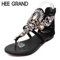 HEE GRAND Crystal Gladiator Sandals Summer Flip Flops Casual Shoes Woman Slip On Flats Rhinestone Women Shoes Size 35-40 XWZ2998