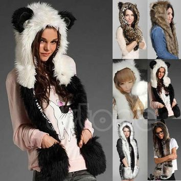 CREYWQA Winter Faux Fur Hood Animal Hoods Hat Cap Cartoon Plush Hats With Scarf Paws Sets Warm Caps Beanies Cartoon Panda Wolf Hat