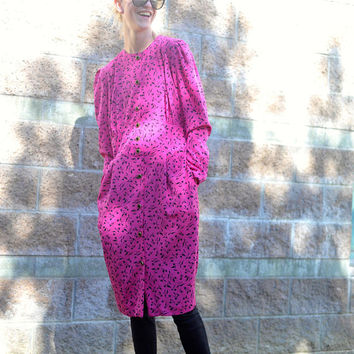 80s Vintage Dress / Magenta Marvelous / Ms Chaus / Pink / Fuchsia