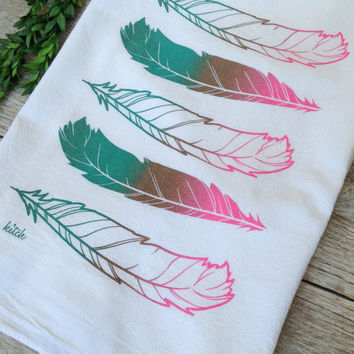 Tea Towel - Feathers Aqua Teal Mint Tan Pink Split Fountain Screen Print Flour Sack Cotton Dish Cloth Kitchen Home Decor Rustic Woodland