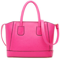 Hot Pink Candy Color PU Leather Shoulder Bag