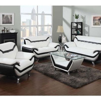 Rozene White Black Leather 3Pc Living Room Set By Acme