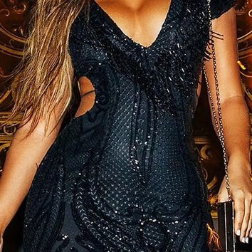 Naughty By Nature Black Sequin Short Sleeve V Neck Cut Out Sides Bodycon Bandage Mini Dress