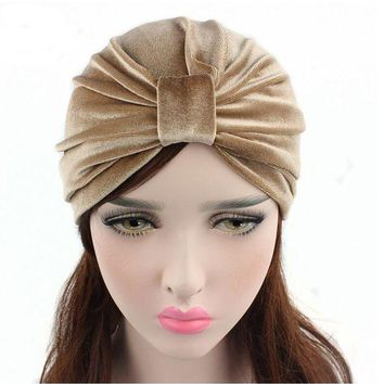 CREYCI7 New Arrival women hats velvet turban caps dome caps head wrap Europe style india hats women beanies skullies for fall and spring