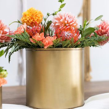 "Metal Bryant Flower Pot in Gold - 6"" Tall x 6.25"" Wide"
