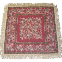 DaDa Bedding Woven Romantic Field of Roses Floral Red Square Shaped Tapestry Table Cloths