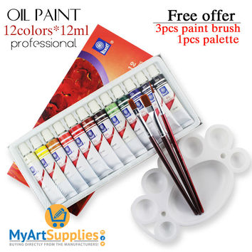 Professional Oil Paints (12 Tubes) for Canvas 12ml
