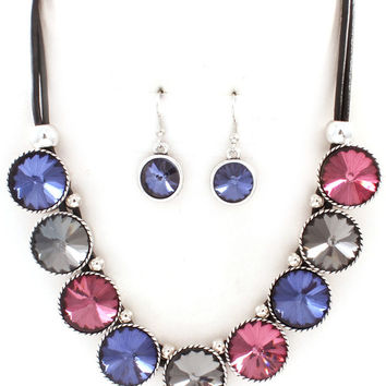 multicolored corded crystal necklace and earring set