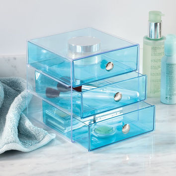 Aqua Blue Clear 3 Drawer Storage Makeup Craft Earring Dresser Cosmetic Organizer
