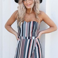Your Words Navy Striped Romper