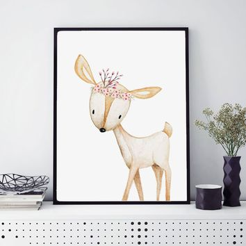 Woodland Deer Nursery Watercolor Prints Little Girl's Room Decoration Animal Wall Art Painting Home Decor Picture No Frame