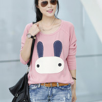 Cartoon Embroidered Patch Long Sleeve T-Shirt