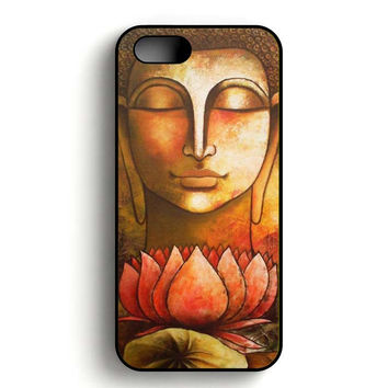 Buddha Painting Flower iPhone 5, iPhone 5s and iPhone 5S Gold case