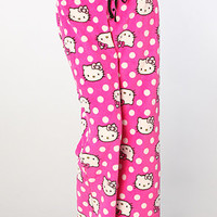 The Hello Kitty Luxe Polka Dot Plush Pant in Pink