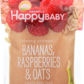 Happy Baby Clearly Crafted Stage 2 Organic Baby Food Bananas Raspberries & Oats - 4 oz