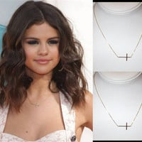 Gold Skinny Sideways Cross, 14kt Gold Filled, Celebrity Inspired, As Seen on Selena Gomez