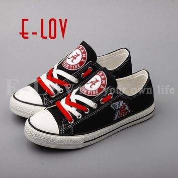 E-LOV 2018 New Design Alabama Crimson Tide College Canvas Shoes Black Print Shoes Red Lace Casual Shoes Gift