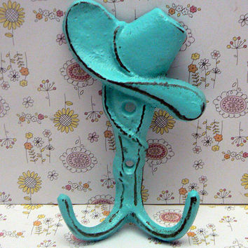 Cowboy Cowgirl Hat Country Western Farm Ranch Wall Cast Iron Bright Turquoise Shabby Style Chic Ranch Farmhouse Leash Key Double Hook