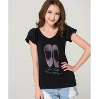 Simply V Neck Pair of Shoes Print Short Bubble Sleeves Tee Top 2 Colors