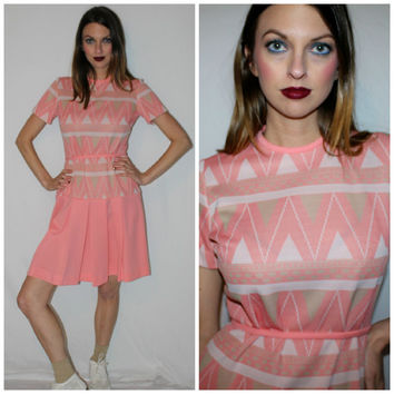 Vintage 60s Geometric Dress, Pink + White Tennis Play Dress