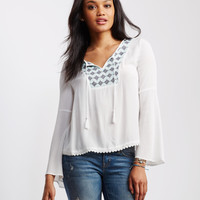 Sheer Embroidered Bell-Sleeve Peasant Top