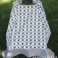 Infant Boy's Mod & Gray Minky Carseat Cover