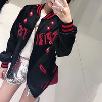 """Gucci"" Women Fashion Multicolor Stripe Water Droplets Letter Long Sleeve Zip Cardigan Jacket Coat"