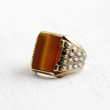 Vintage Art Deco Style Tigers Eye Ring - Men's Retro Statement Size 9 18k HGE Hallmarked ESPO Costume Jewelry