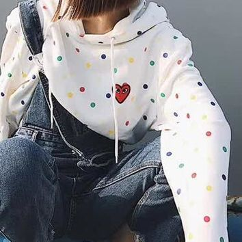 """Comme des garçon play"" Fashion Women Men Heart Embroidery Colorful Wave Point Print Hooded Couple Sweater Top Sweatshirt I13843-1"