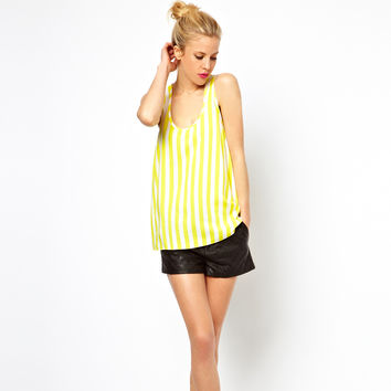 Yellow Vertical Sleeveless Top