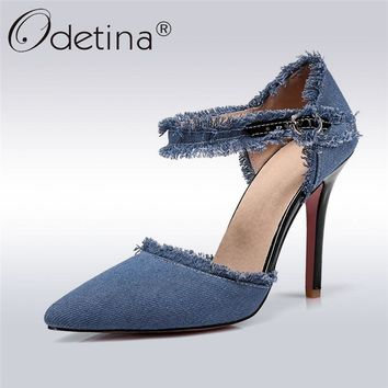 Odetina 2018 New Fashion Women Denim Pumps Buckle Strap Two Piece Stiletto High Heels Pointed Toe Summer Party Shoes Big Size 47