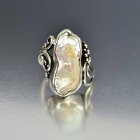 Sterling Silver Baroque Pearl Modernist Statement Ring