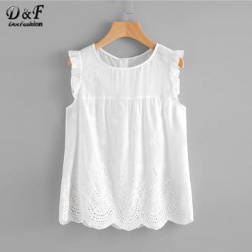 Dotfashion Eyelet Embroidered Scallop Hem Frilled Shell Top Women Round Neck Sleeveless Blouse White Cotton Summer Tops
