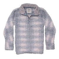 Big Plaid Frosty Tipped Women's Stadium Pullover in Blue by True Grit (Dylan)