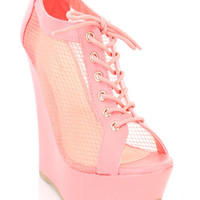 Melon Mesh Lace Up Ankle Bootie Wedges Faux Leather
