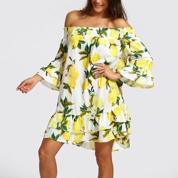 Ruffle off shoulder short dress summer lemon print backless yellow dress women High waist casual beach dress female