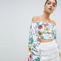 PrettyLittleThing Floral Bardot Crop Top With Back Tie at asos.com