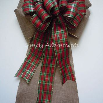 Country Christmas Tree Bow Red Green Tartan Burlap Christmas Wreath Bow Church Aisle Wedding Pew Decoration