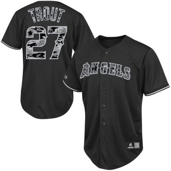 Majestic Mike Trout Los Angeles Angels of Anaheim Black Camo Player Jersey - Black
