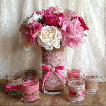natural burlap and pink lace covered 1 vase and 6 votive tea candles, wedding, baby shower, bridal shower, tea party table decoration