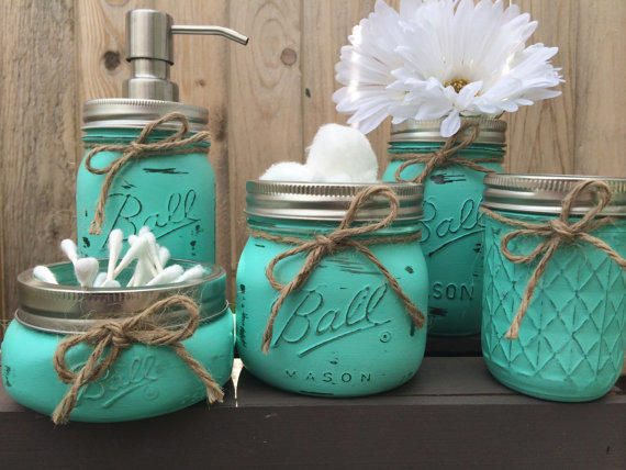 Hand Painted Mason Jar Bathroom Set From