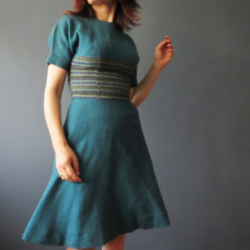 Vintage 50s Teal Blue Circle Skirt Dress, Mad Men Midcentury, Toni Edwards Small