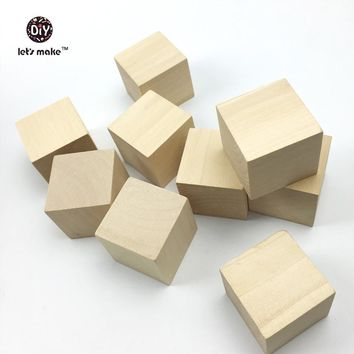 Let's make 1.6 inch 40mm Solid Wooden Blocks - 5  Unfinished Wood Alphabet Blocks nature Wooden Blanks Toys Wooden Dice Hardwood