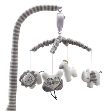 Living Textiles Baby Owl Musical Mobile in Grey