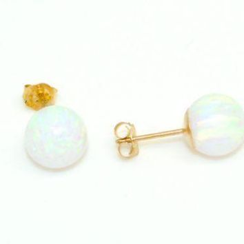 14k solid yellow gold white fire opal ball push back stud earrings  4mm-7mm